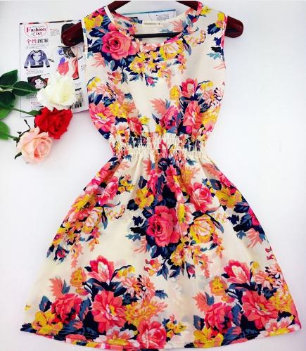 Повседневное шифоновое платье без рукавов №2