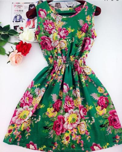 Повседневное шифоновое платье без рукавов №1